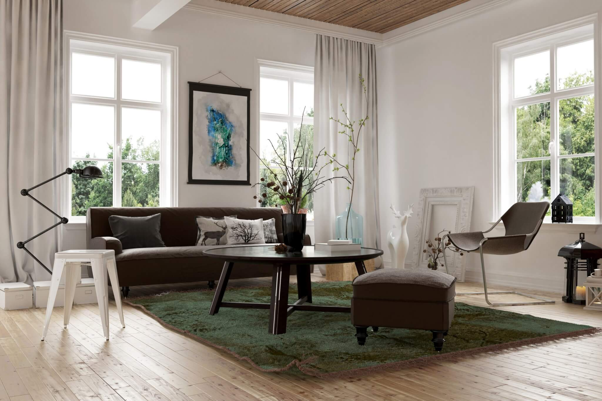Lounge with Wooden Floor and Minimalistic Decor